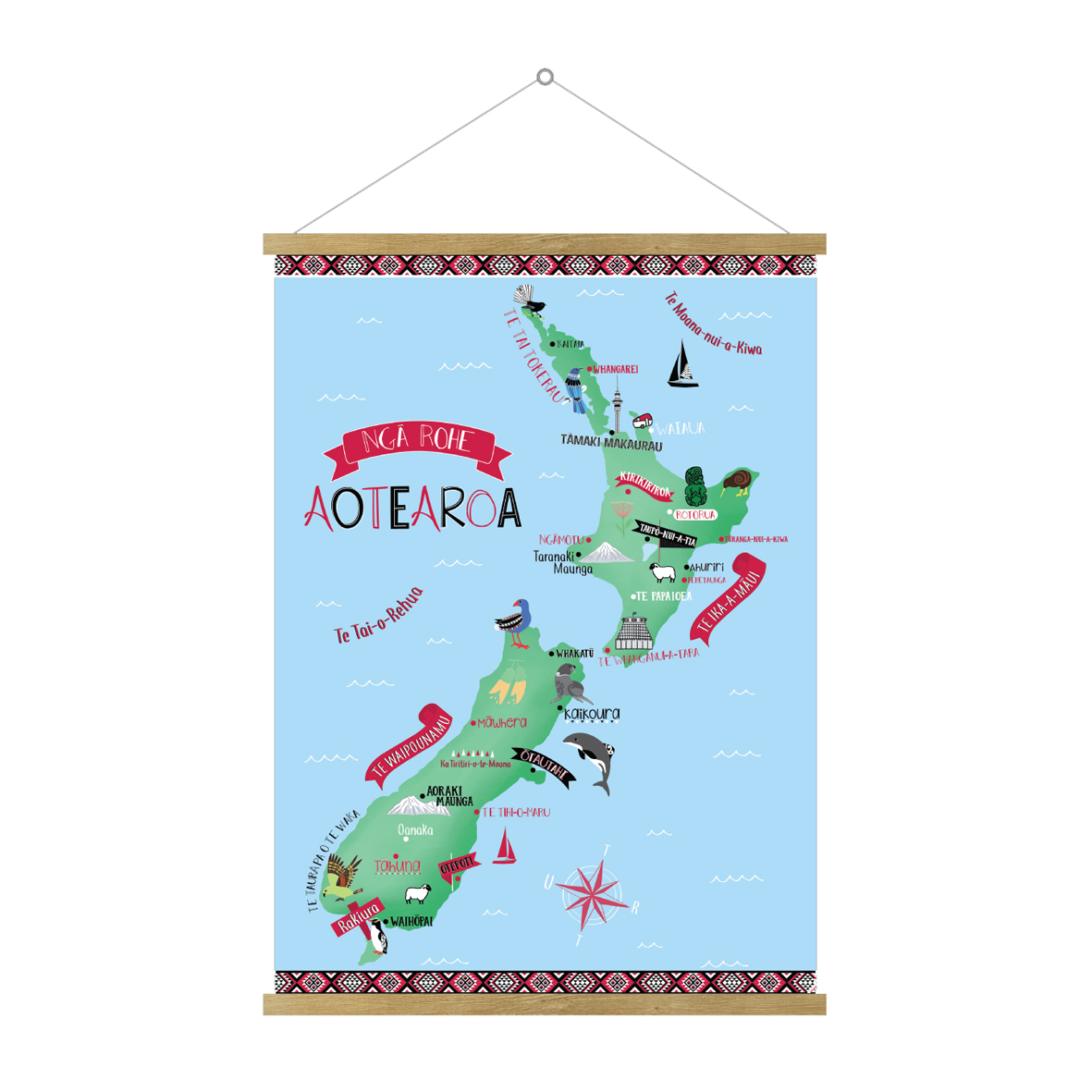 Aotearoa (NZ) Hanging Map In Te Reo Māori