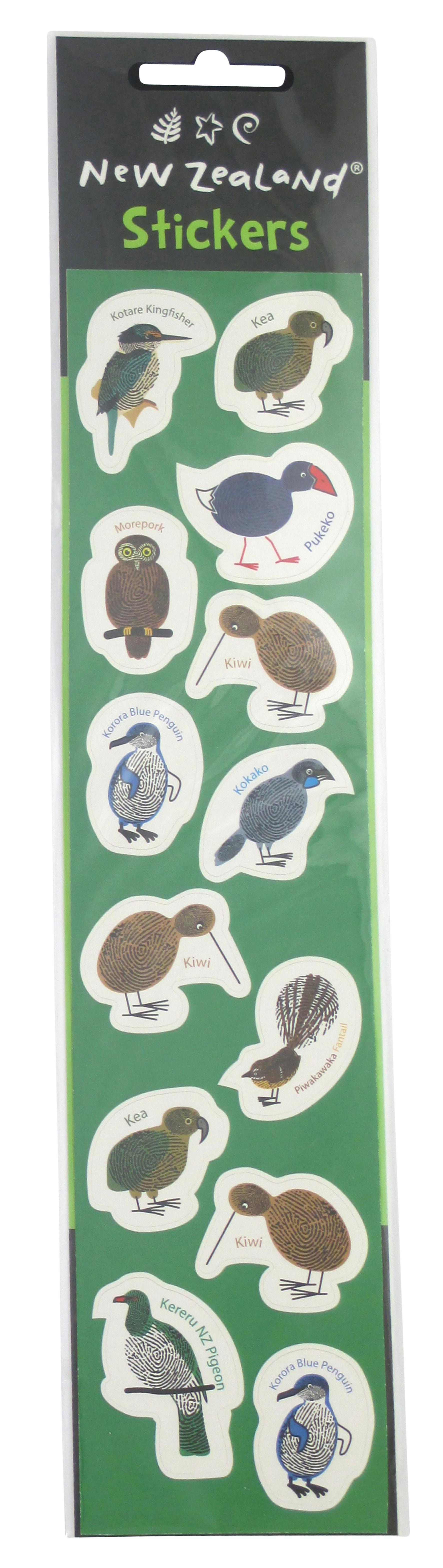 NZ Native Bird Fingerprint Stickers