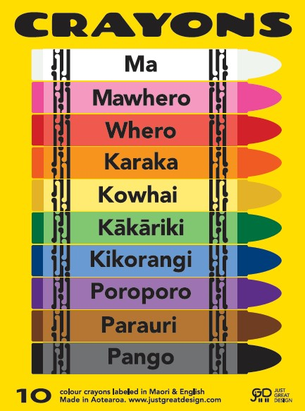 Pack Of 10 Coloured Crayons In Māori & English