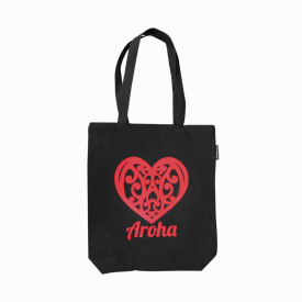 Aroha Canvas Tote Bag (Black)