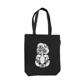 Tiki Canvas Tote Bag (Black)