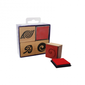 3 Piece Māori Patterns Rubber Stamp Pad Set