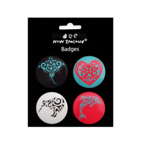 Māori Inspired Designed Badges (4 Pce Set)