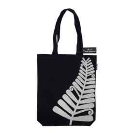 Silver Fern Canvas Tote Bag (Black)